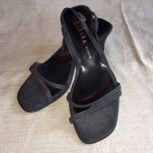 Zara Gray Strappy Sandal with Heel, Size 7